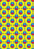 Battery Cat Seamless Pattern_eps. Illustration of character battery cat seamless pattern on yellow background Stock Photo