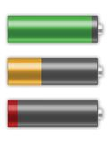 Battery cells charging. AA battery cells charging isolated on white Royalty Free Stock Images