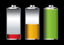 Battery charge. Three batteries with different levels of charge and black background vector illustration