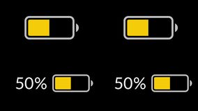 Battery charge, battery discharge. Loop animation stock video footage