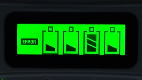 Battery Charge Error. Green Display Shows A Battery Charge Error stock video footage