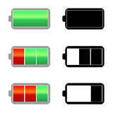 Battery charge icons. Signs color and monochrome. See vector version Stock Photos