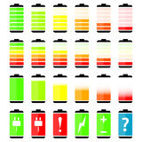 Battery charge level indicator icons Stock Images