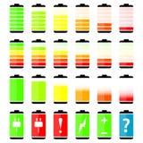 Battery charge level indicator icons Stock Images