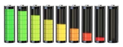 Battery charge level indicators, 3D rendering Stock Image