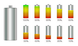 Battery charge level indicators with gradient. Set of discharge and fully charged power cells icons to your design. Royalty Free Stock Photo