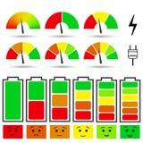 Battery charge level indicators Stock Image