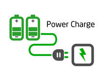 Battery charge with plug vector. On white background Stock Photo