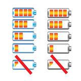 Battery charge showing stages  set Royalty Free Stock Photos