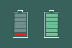 Battery charge is small and full. Pop art retro vector illustration royalty free illustration
