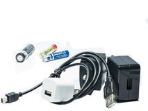 Battery and charger adapter Stock Photos