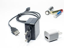 Battery and charger adaptor. Stock Image