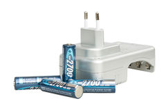 Battery charger with batteries Royalty Free Stock Photography