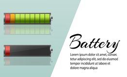 Battery charger with finger low batteries and indicators, high vector isolated.vector illustration.  Royalty Free Stock Photos