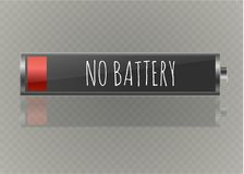 Battery charger with finger low batteries and indicators, high vector isolated.vector illustration.  Royalty Free Stock Images