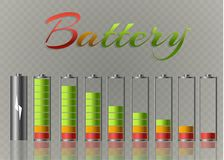 Battery charger with finger low batteries and indicators, high vector isolated.vector illustration.  Stock Photo