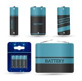 Battery charger with finger low batteries and indicators, high vector isolated.vector illustration.  Stock Images