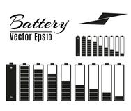 Battery charger with finger low batteries and indicators, high vector isolated.vector illustration.  Stock Photos