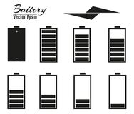 Battery charger with finger low batteries and indicators, high vector isolated.vector illustration.  Royalty Free Stock Image