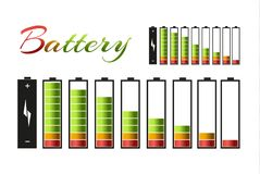 Battery charger with finger low batteries and indicators, high vector isolated.vector illustration.  Stock Image