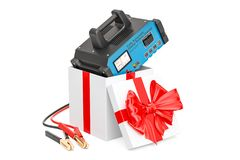 Battery charger inside gift box, gift concept. 3D rendering. Battery charger inside gift box, gift concept. 3D Stock Image