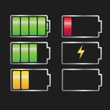 Battery charger set. Vector battery charger set, battery icon, full and battery sign Royalty Free Stock Images