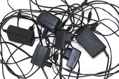 Charger for Cell Phones in mess Royalty Free Stock Images