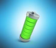 Battery charging Battery charge level indicators on blue 3d illu Stock Photos