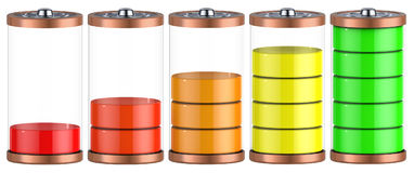 Battery charging. Battery charge level indicators isolated on white. 3d illustration Royalty Free Stock Image