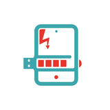 Battery charging icon on tablet pc laptop vector illusration. Stock Photos