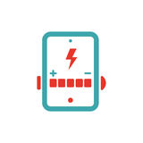 Battery charging icon on tablet pc laptop vector illusration. Royalty Free Stock Images