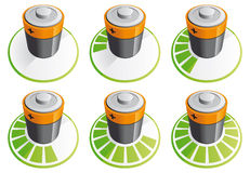 Battery charging icons Royalty Free Stock Image