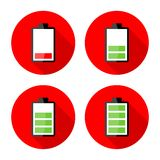 Battery charging icons - Electricity signs symbols Stock Photography