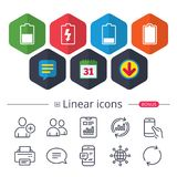 Battery charging icons. Electricity symbol. Stock Images