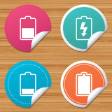 Battery charging icons. Electricity symbol. Royalty Free Stock Image