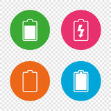 Battery charging icons. Electricity symbol. Stock Photography