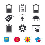 Battery charging icons. Electricity symbol. Royalty Free Stock Photos