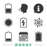 Battery charging icons. Electricity symbol. Royalty Free Stock Images