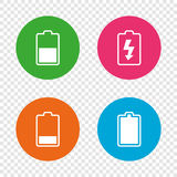 Battery charging icons. Electricity symbol. Royalty Free Stock Photo