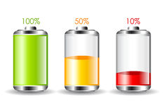 Battery charging. Icons set on white background Stock Images