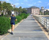 The Battery in Charleston. Active locals and sightseers enjoy The Battery on the ocean in Charleston Royalty Free Stock Image
