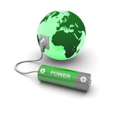 Battery connected to Earth Royalty Free Stock Photos