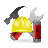 Battery construction tools illustration Stock Image