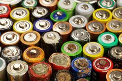 The battery contains harmful for the environment natural compounds: mercury, cadmium and lead, which are included in the so-called. Batteries and accumulators stock photography
