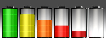 Battery 3d icon full set. Success 100 percent red concept 3d image Royalty Free Stock Photos