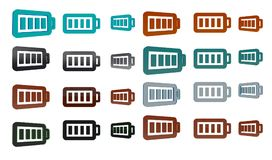Battery 3d icon set. 3d rendering illustration of battery 3d icon set Stock Image