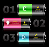Battery 3d with icons. Vector  business concepts with icons. can use for info-graphic. loop business report or plan. modern template. education template Stock Images