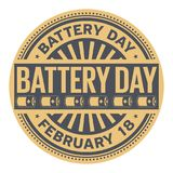 Battery Day rubber stamp. Battery Day, February 18, rubber stamp, vector Illustration Stock Image