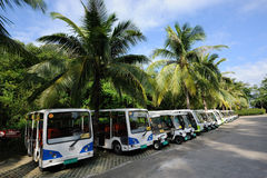 Battery ecological tour buses. In the park.Sanya nashan cultural tourism zone Royalty Free Stock Image