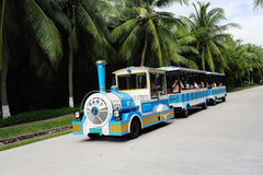 Battery ecological tour buses. In the park.Sanya nashan cultural tourism zone Royalty Free Stock Images